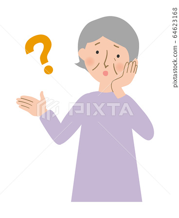 Vector illustration of wondering grandma leaning her neck with hands on cheeks 64623168
