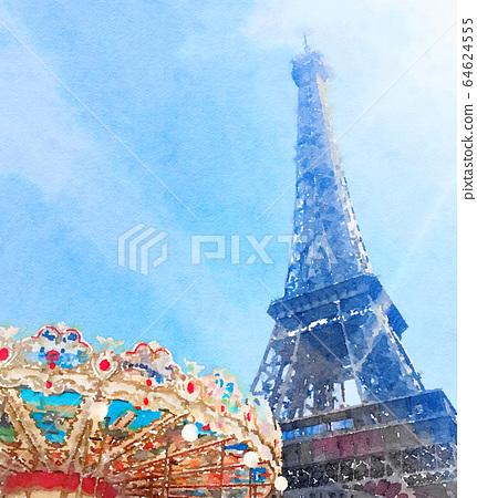 Watercolour Art Print, Travel in Europe Scene 64624555