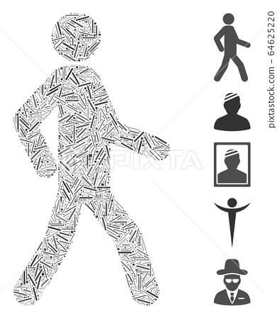 Hatch Collage Walking Man Icon 64625220