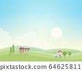 早晨風光-鄉村住宅-房屋(日本紙的質地) 64625811