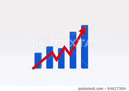 Uptrend graph with red arrow 64627304