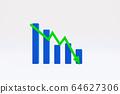 綠色箭頭的下降趨勢圖 64627306