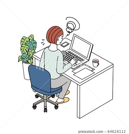 一名婦女前往計算機插圖遠程辦公遠程工作 64628112