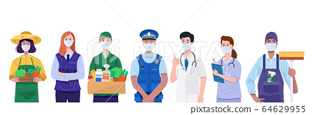 Essential workers, Various occupations people wearing face masks. Vector 64629955