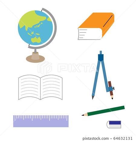 文具,例如鉛筆,字典,筆記本的插圖集(彩色) 64632131
