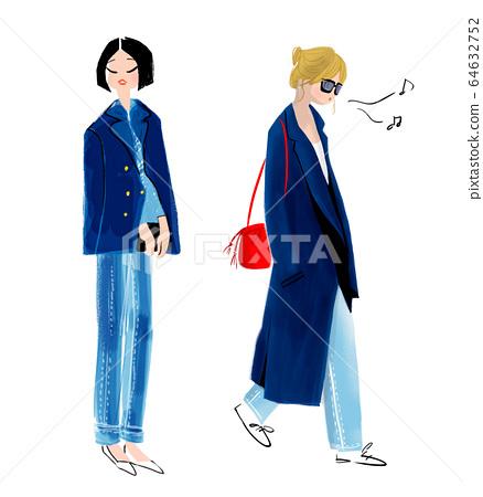 멋진 패션 여성 일러스트 64632752