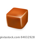 Caramel Toffee Candy Delicious Sweet Cube Vector 64632928