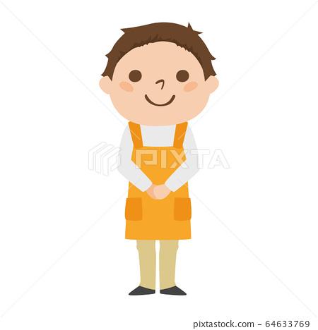 一個微笑的超級市場男職工的例證。. 64633769