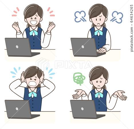 노트북에서 일을하는 여성의 표정 세트 64634265