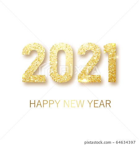 Happy New 2021 Year. Holiday vector illustration of golden metallic numbers 2021. Realistic gold vector sign. Festive poster or banner design 64634397