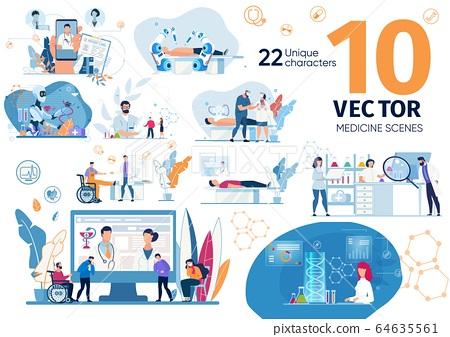 Medicine Innovative Technologies Vector Scenes Set 64635561