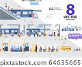 Modern City Public Transport Flat Vector Scenes 64635665
