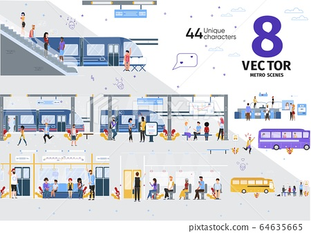 Modern City Public Transport Flat Vector Scenes 64635665