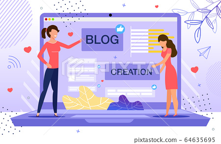 Woman Personal Blog Creation Flat Vector Concept 64635695