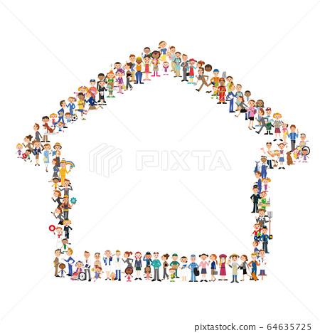 組成房屋輪廓的組 64635725