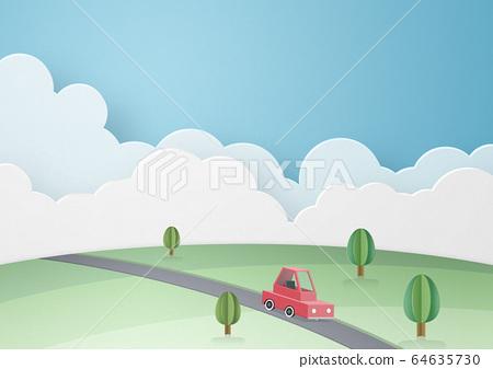 종이 공예 - 하늘 - 구름 - 자동차 - 대지 64635730