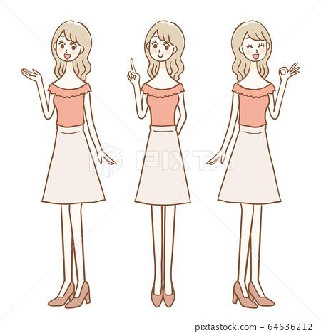 女性全身3姿勢集 64636212