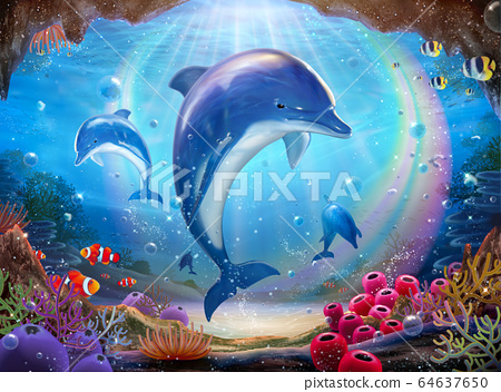 Underwater world with dolphins 64637650