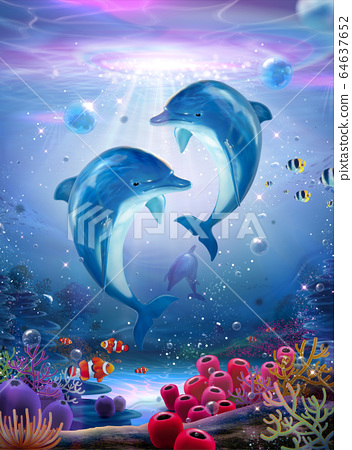 Pod of lovable dolphin family 64637652