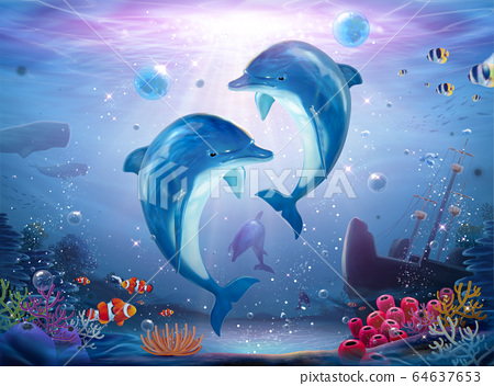 Pod of lovable dolphin family 64637653
