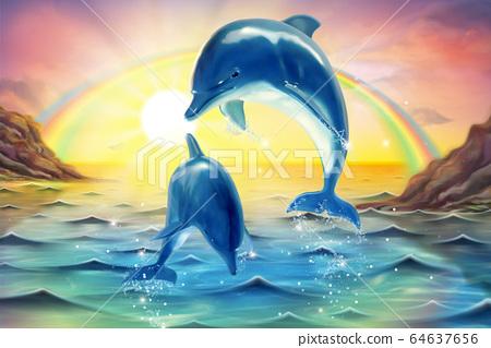 Breaching bottlenose marine mural 64637656