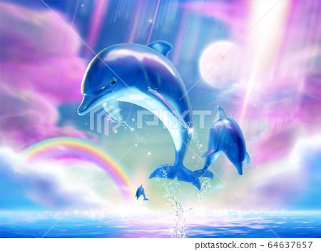 Breaching bottlenose marine mural 64637657