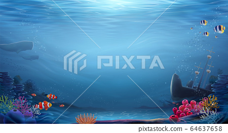 Natural ocean bottom background 64637658