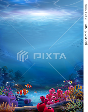 Natural ocean bottom background 64637660