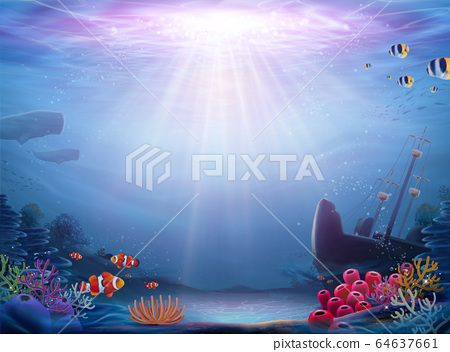 Natural ocean bottom background 64637661