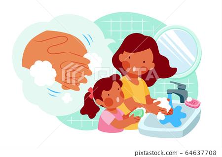 Mom teaching daughter washing hands 64637708
