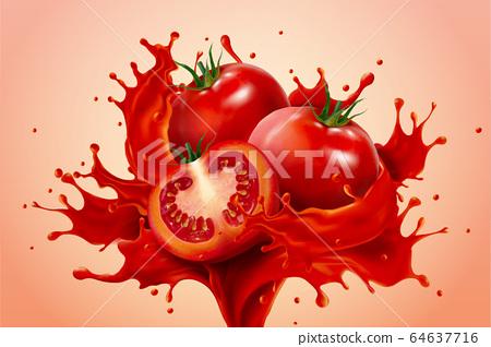 Realistic tomato in splashes 64637716
