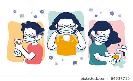 COVID-19 prevention illustration 64637719