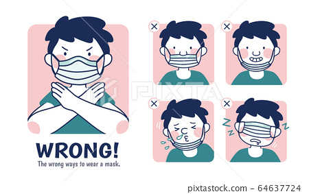 Incorrect examples of wearing masks 64637724