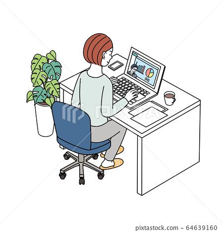 온라인 세미나 동영상 전송을 보면 여성 일러스트 64639160