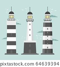 Lighthouses. Set of of large lighthouses over blue background 64639394