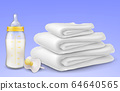 Baby milk bottle, towels and pacifier 64640565