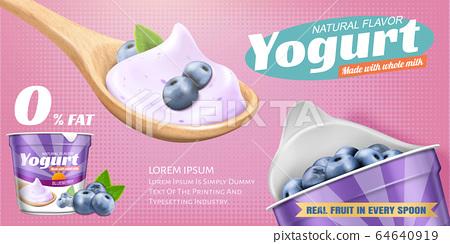 Natural blueberry yogurt banner ads 64640919