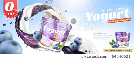 Natural blueberry yogurt banner ads 64640921
