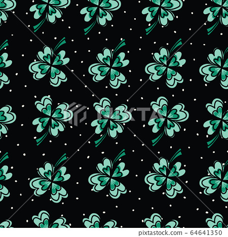 Four-leaf clover seamless vector pattern. Cute hand drawn clover leaves on a black and white spotted 64641350