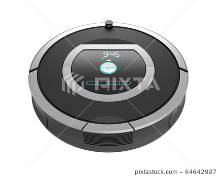 smart robotic vacuum cleaner 3d render on white no 64642987