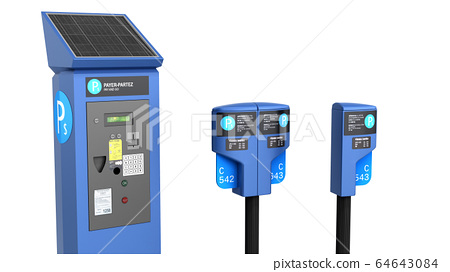 Parking meter machine 3d render on white 64643084