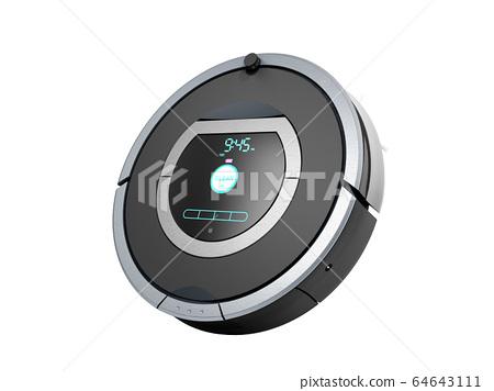 smart robotic vacuum cleaner 3d render on white no 64643111
