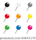 set of colored pins for office 64643174