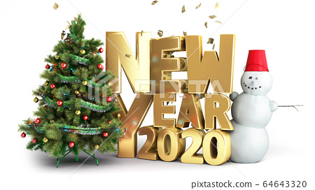 new year 2020 Christmas tree background 3d render 64643320