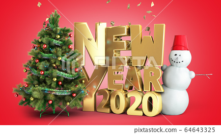 new year 2020 Christmas tree background 3d render 64643325