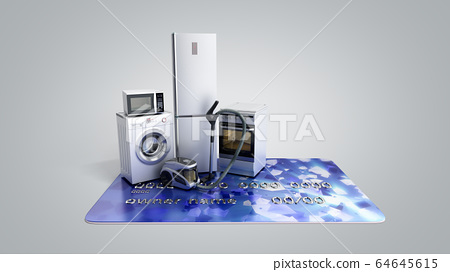 Home appliances on credit card E-commerce or 64645615