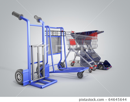 a set of supermarket trolleys for different loads 64645644