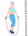 Skipping girl. Recreation. Concept. Workout. 64646065
