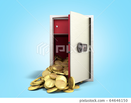 open steel safe with gold dollar coins 3d render 64646150