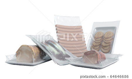 set of vacuum packed food 3d render on white no 64646686
